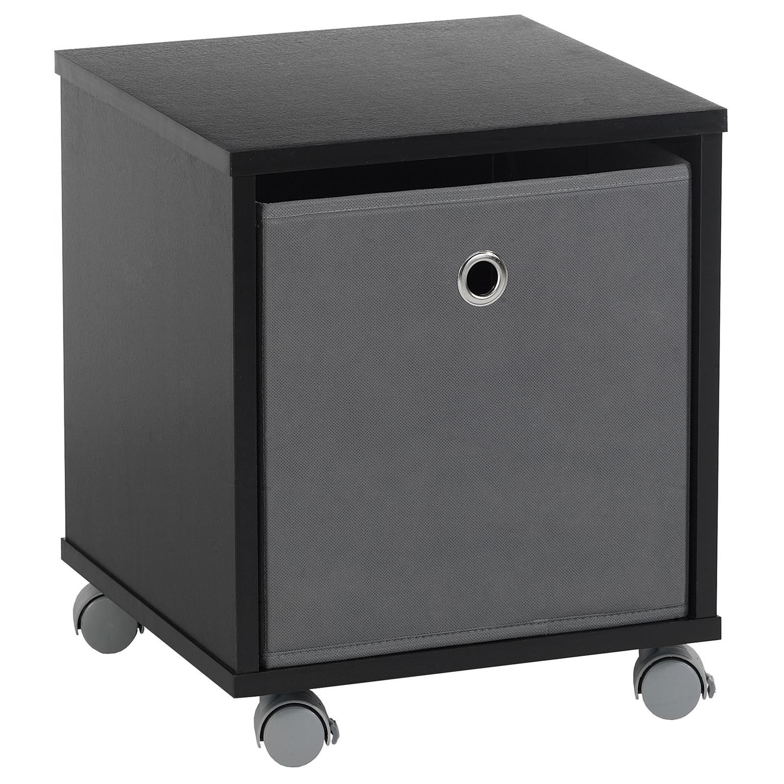 nachttisch kommode schrank rollcontainer m bel mit stoffbox auf rollen ebay. Black Bedroom Furniture Sets. Home Design Ideas