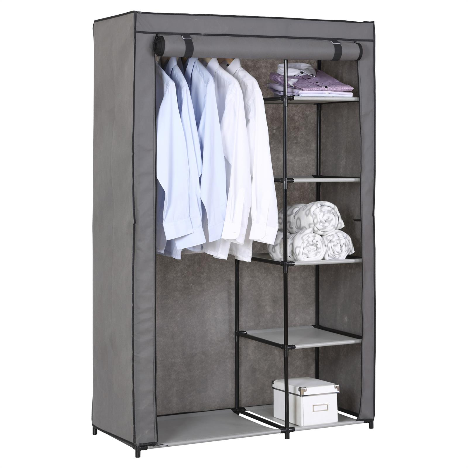 stoffkleiderschrank tanja mit kleiderstange mobilia24. Black Bedroom Furniture Sets. Home Design Ideas