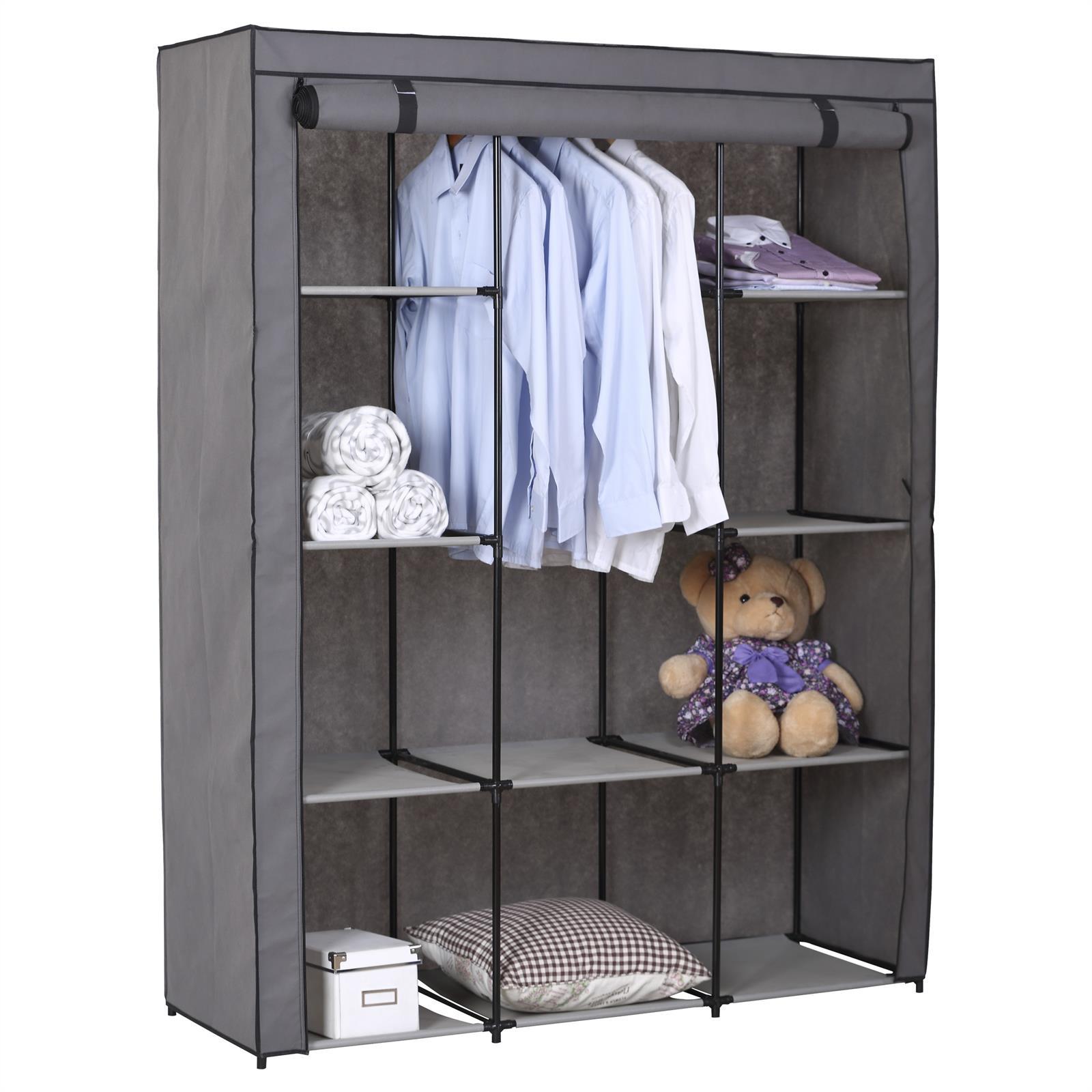 Kleiderschrank STEVEN, 1 Kleiderstange, 9 Regale - mobilia24