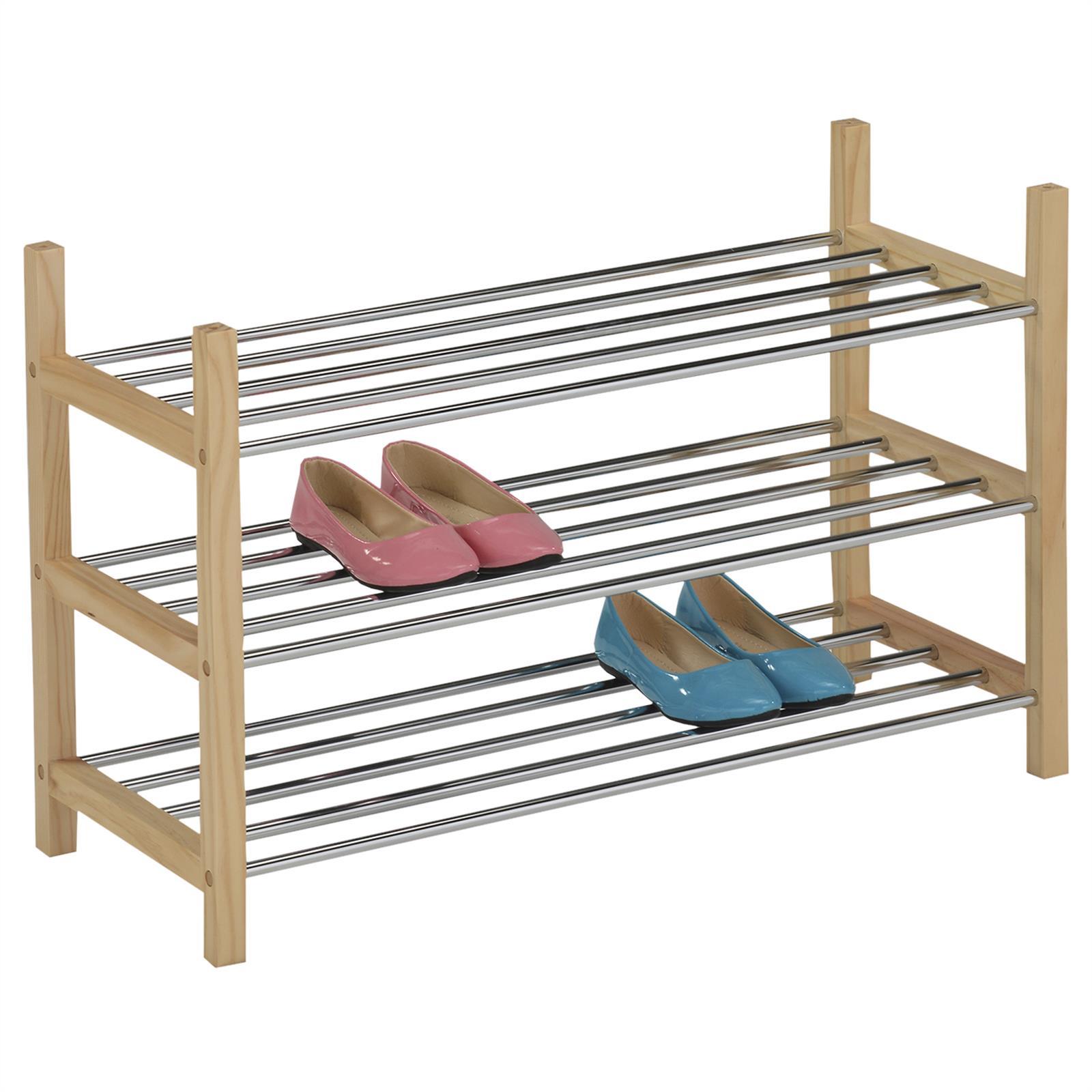 schuhregal resa mit 3 b den in natur mobilia24. Black Bedroom Furniture Sets. Home Design Ideas