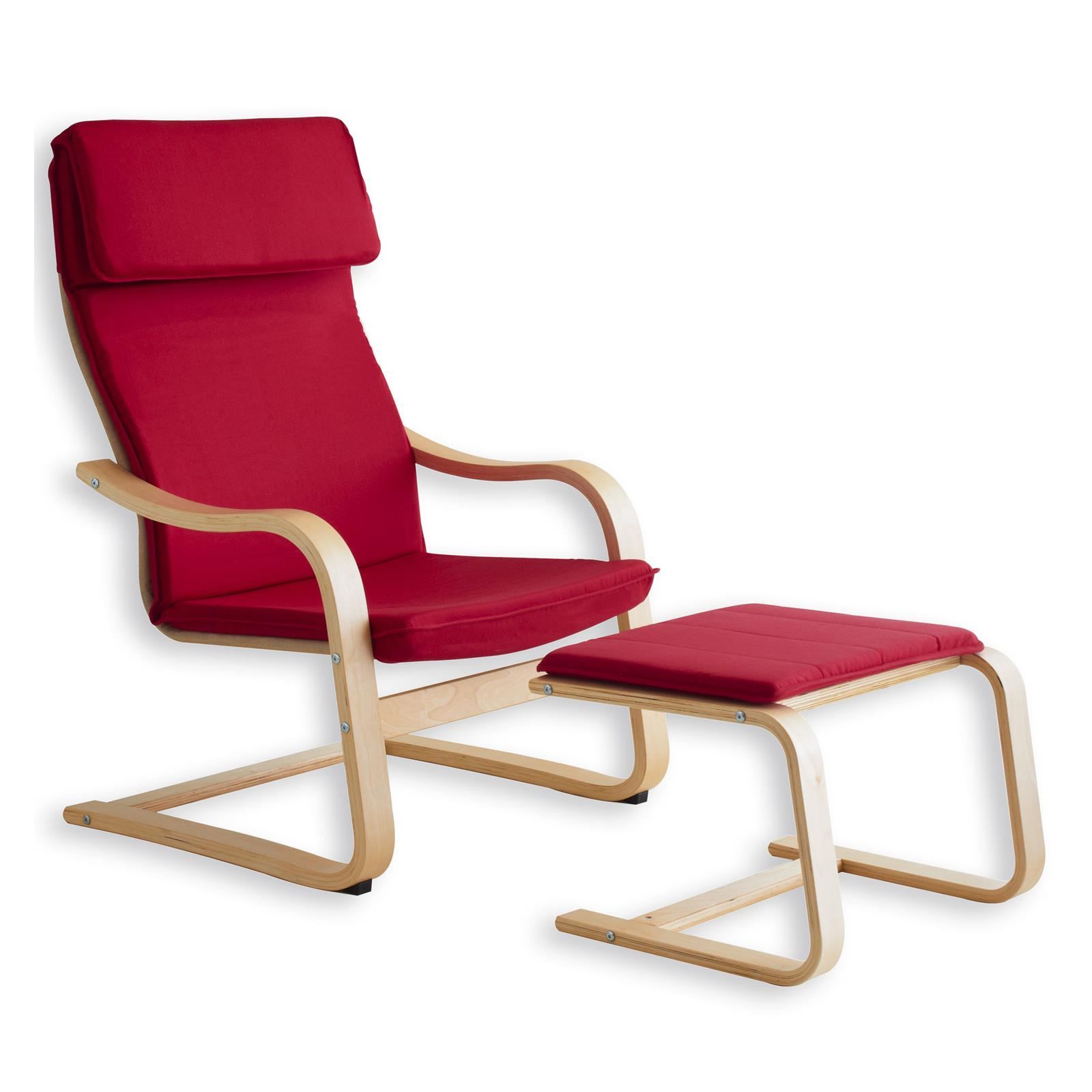 Relaxsessel lina mit hocker in rot mobilia24 for Sessel mit hocker rot