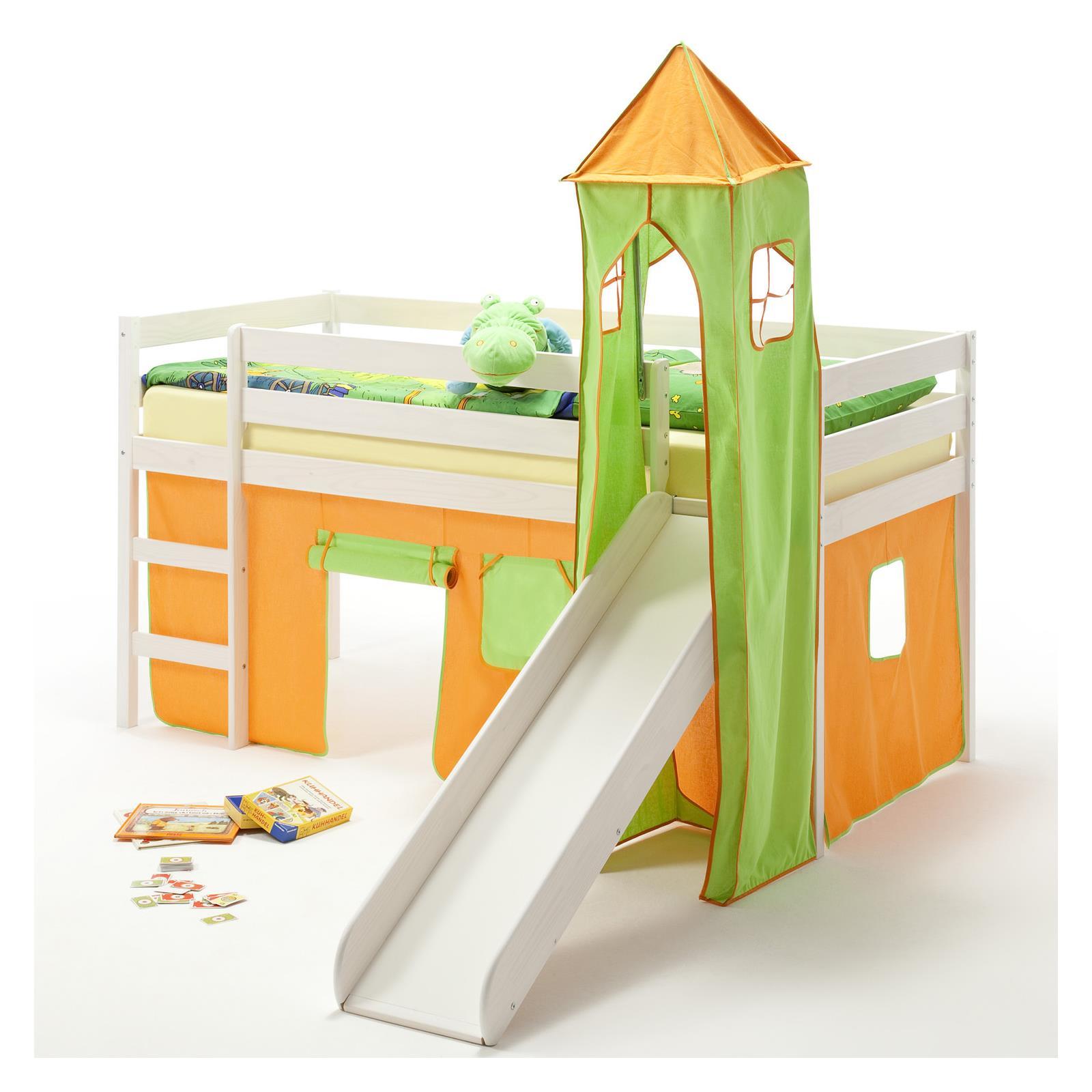 rutschbett benny turm vorhang gr n orange mobilia24. Black Bedroom Furniture Sets. Home Design Ideas