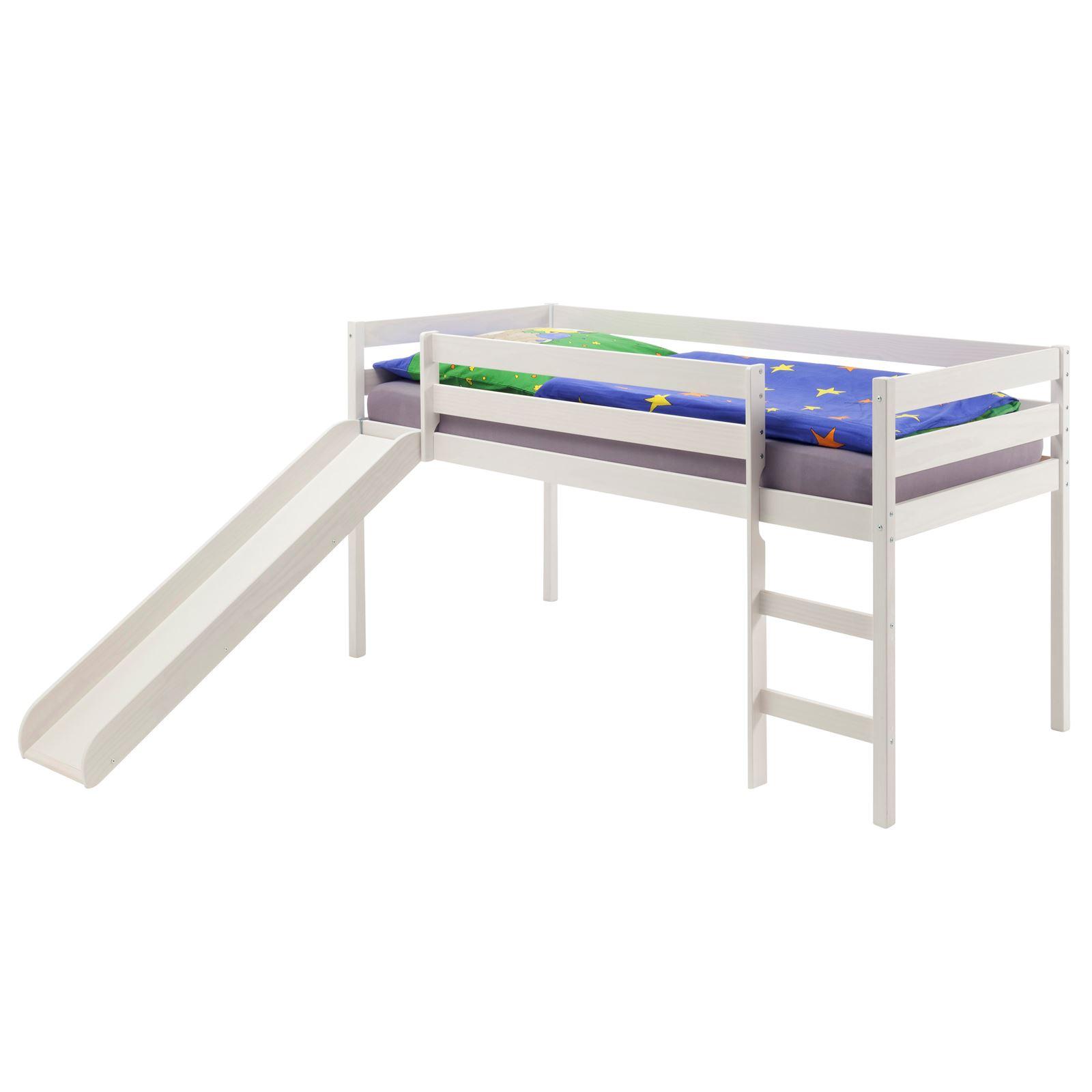 spielbett benny mit rutsche in wei mobilia24. Black Bedroom Furniture Sets. Home Design Ideas