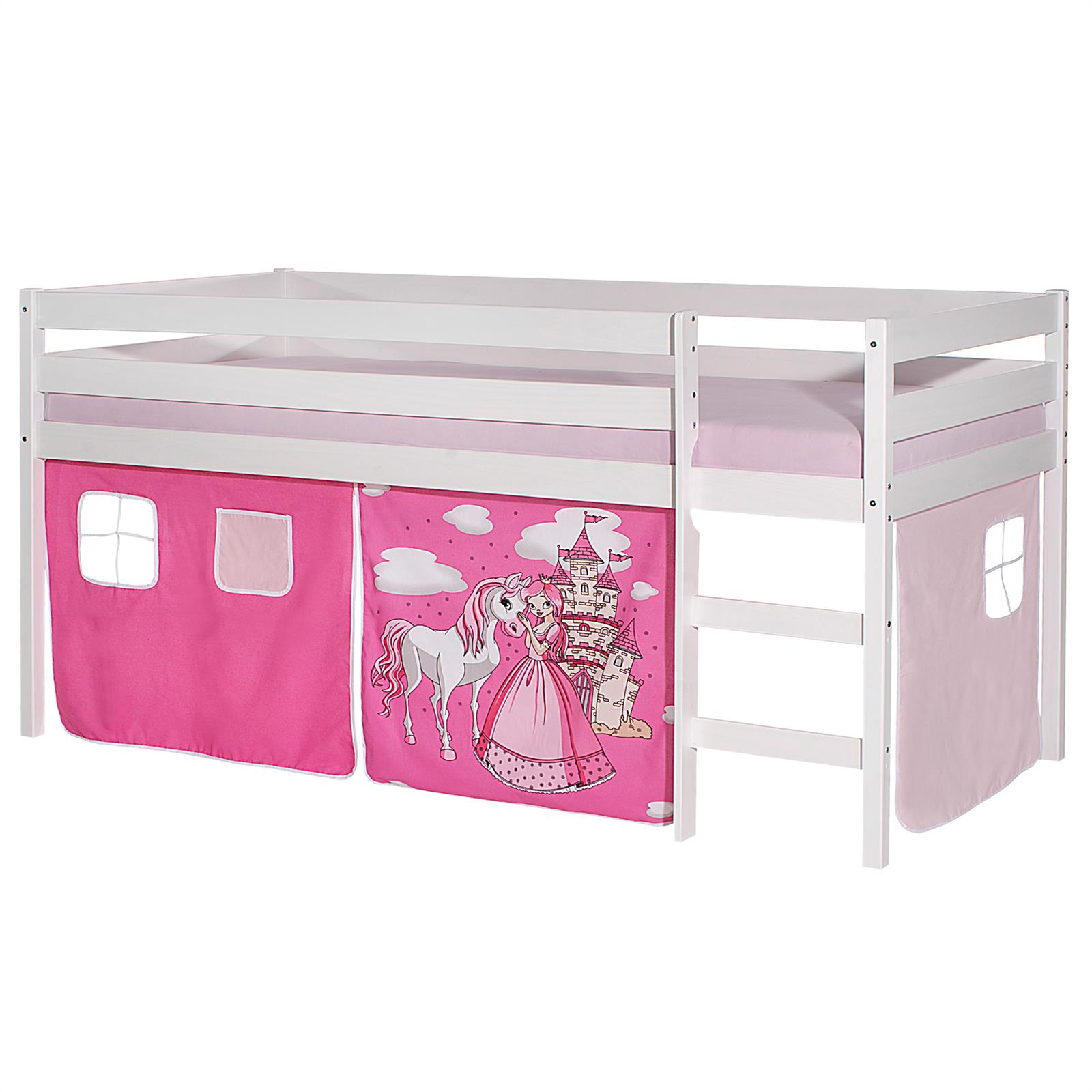 hochbett erik wei mit vorhang prinzessin pink rosa. Black Bedroom Furniture Sets. Home Design Ideas