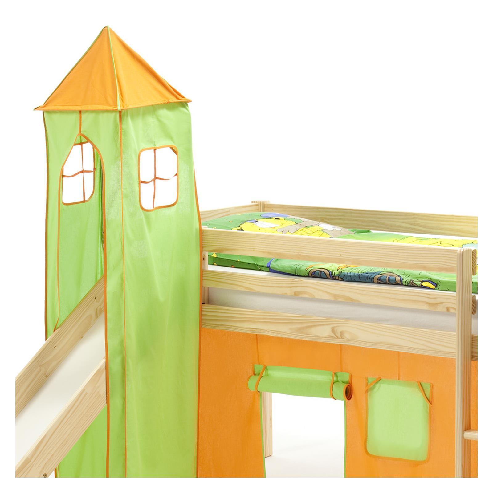 turm max zu bett mit rutsche gr n orange mobilia24. Black Bedroom Furniture Sets. Home Design Ideas
