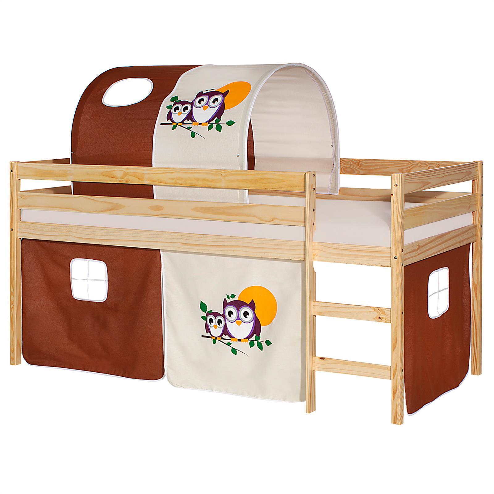 hochbett erik natur mit vorhang tunnel eule mobilia24. Black Bedroom Furniture Sets. Home Design Ideas