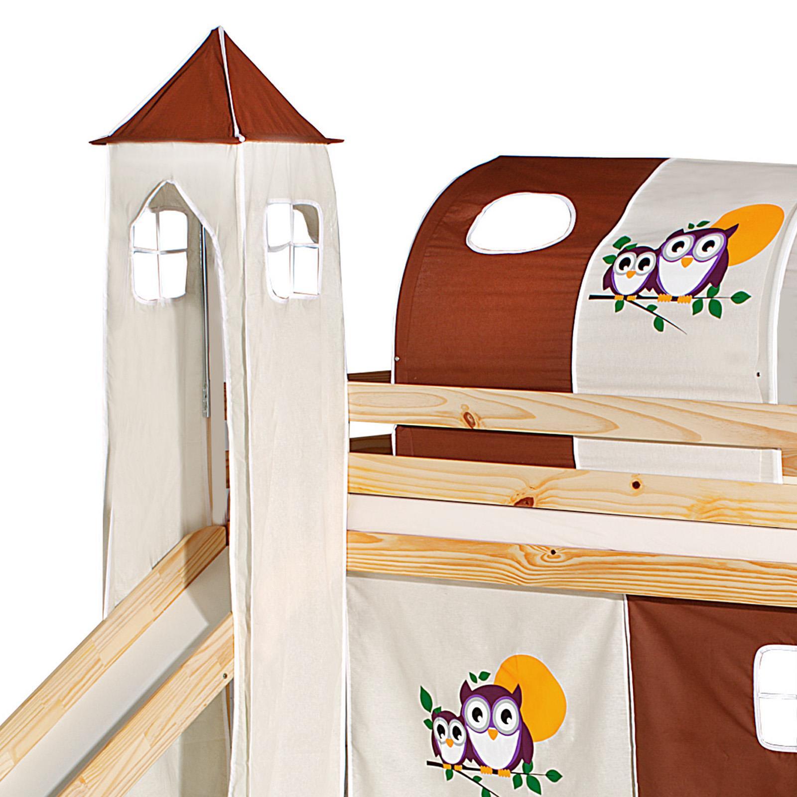 turm eule zu bett mit rutsche braun beige mobilia24. Black Bedroom Furniture Sets. Home Design Ideas