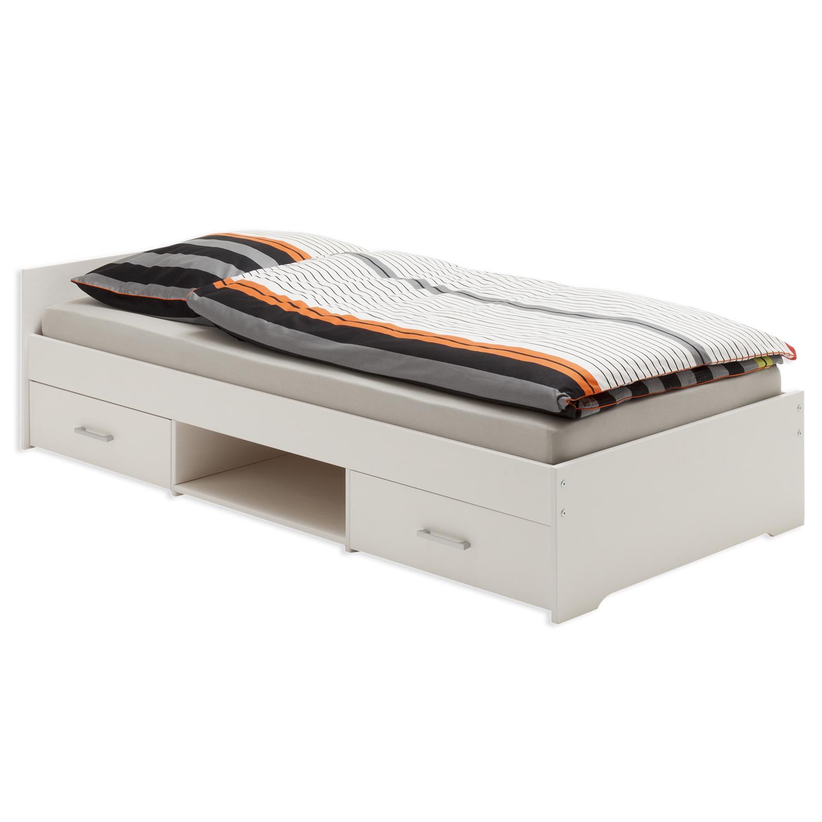 einzelbett kai weiss lackiert 90 x 200 cm mobilia24. Black Bedroom Furniture Sets. Home Design Ideas