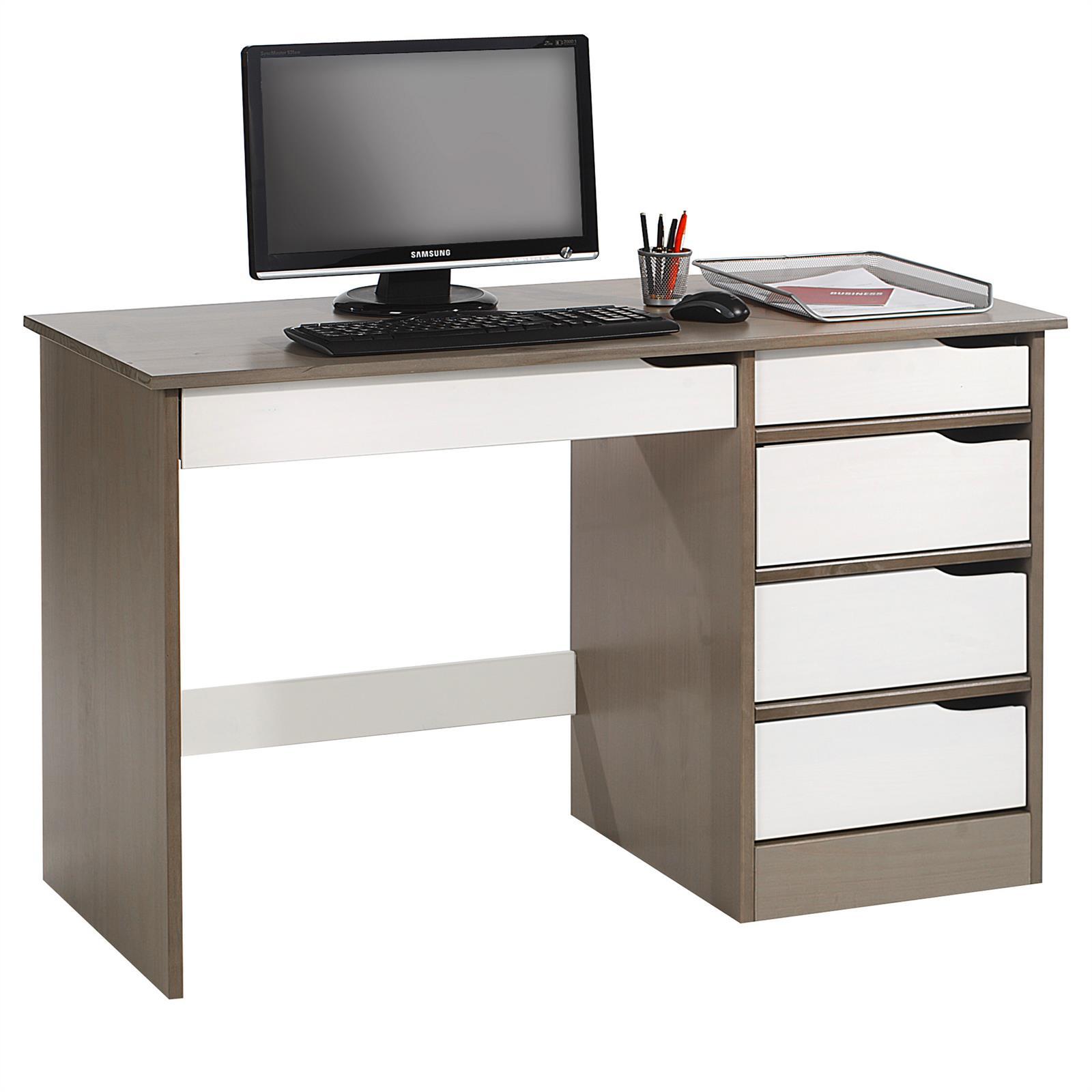 Schreibtisch hugo in kiefer massiv taupe wei mobilia24 for Schreibtisch in kiefer