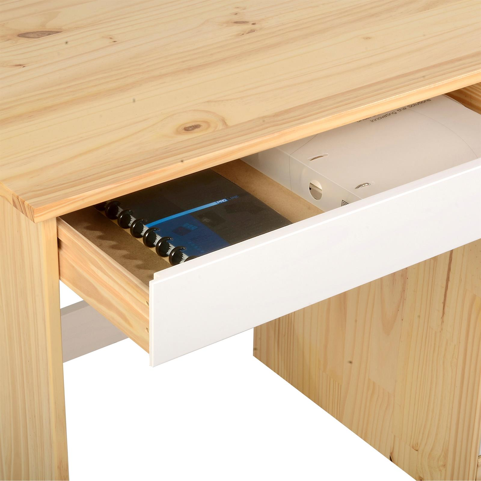 schreibtisch hugo in kiefer massiv natur wei mobilia24. Black Bedroom Furniture Sets. Home Design Ideas