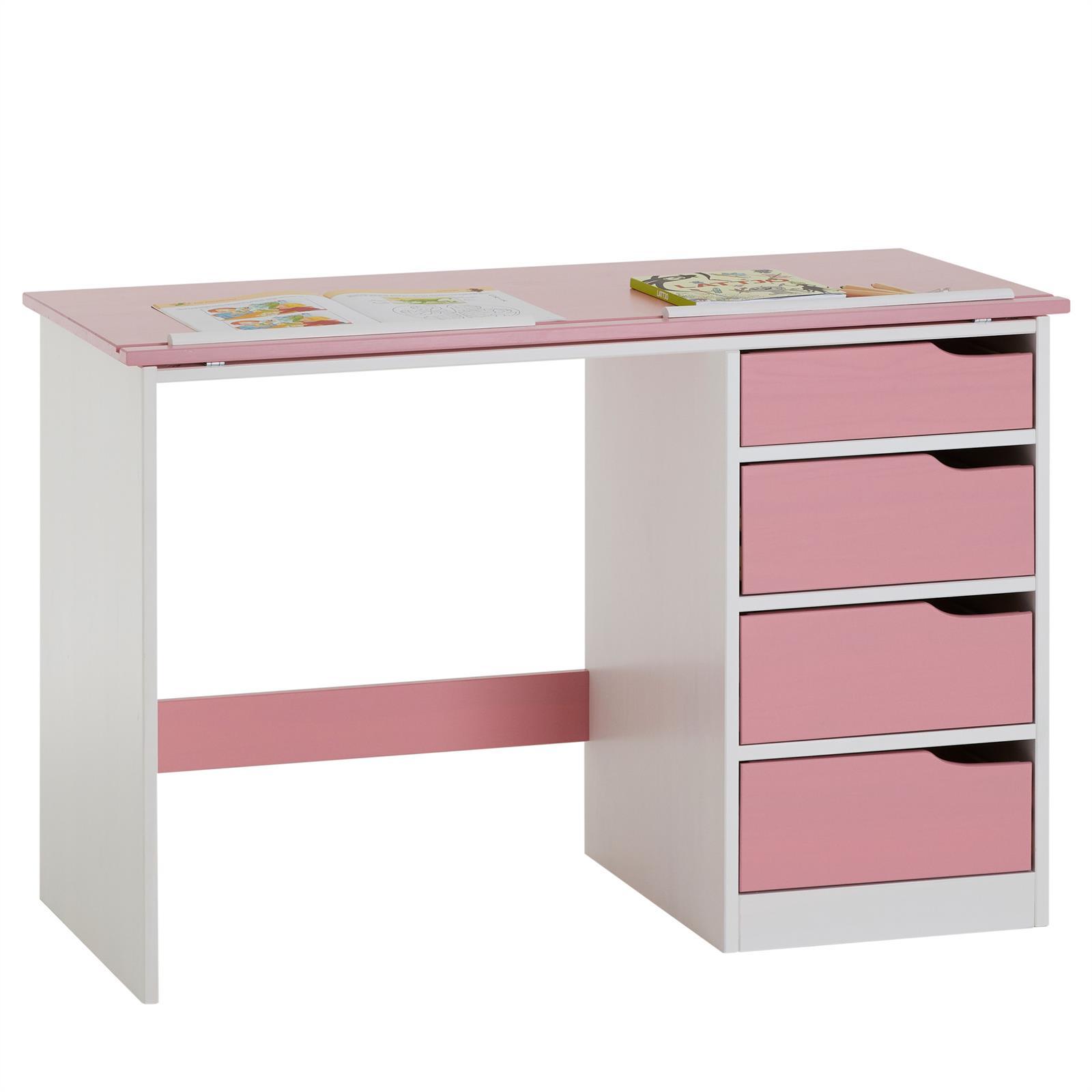 kinderschreibtisch emma kiefer massiv wei rosa neigungsverstellbar mobilia24. Black Bedroom Furniture Sets. Home Design Ideas