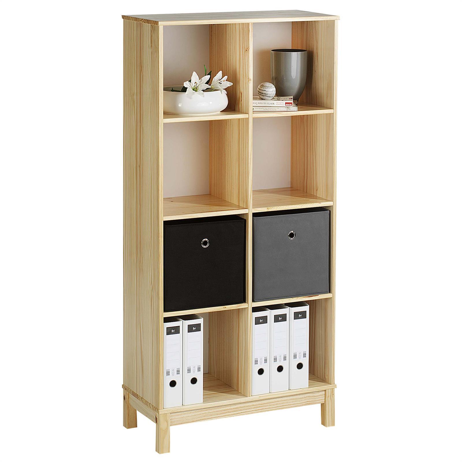 regal standregal logo mit 8 f cher kiefer natur mobilia24. Black Bedroom Furniture Sets. Home Design Ideas