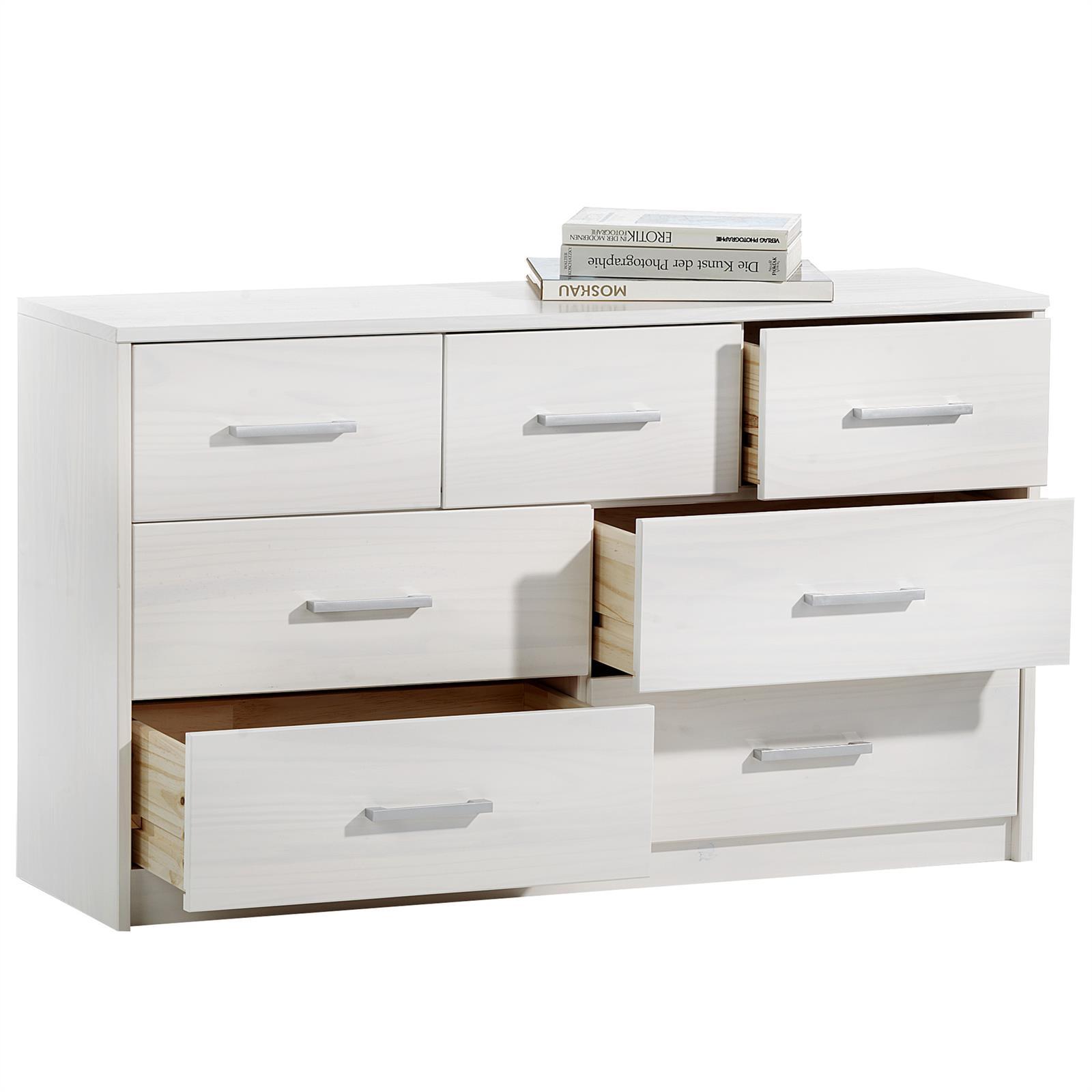 kommode tessa wei mit 7 schubladen mobilia24. Black Bedroom Furniture Sets. Home Design Ideas