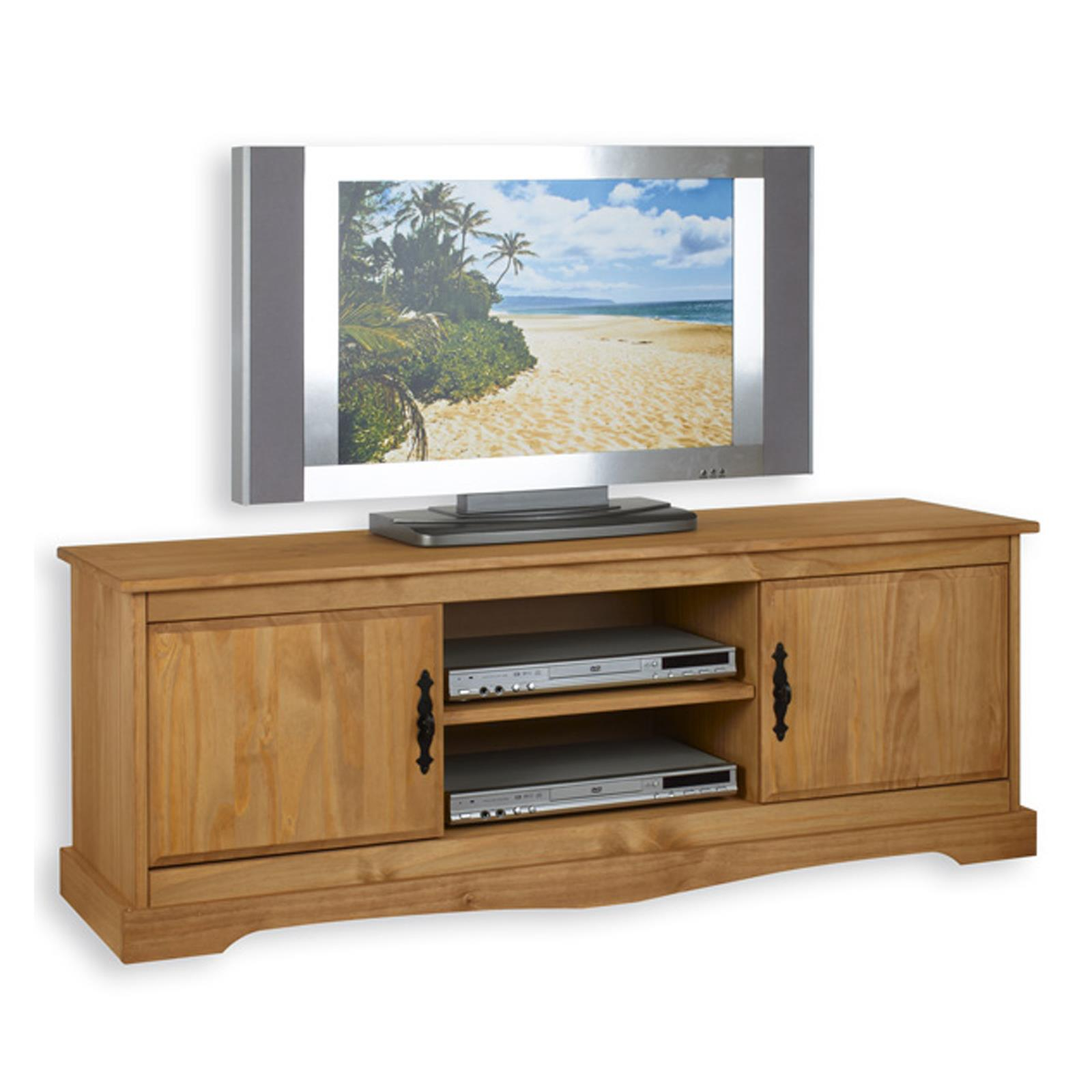 TV Lowboard Kiefer massiv 135 cm breit Rack Phono Medien Möbel ...