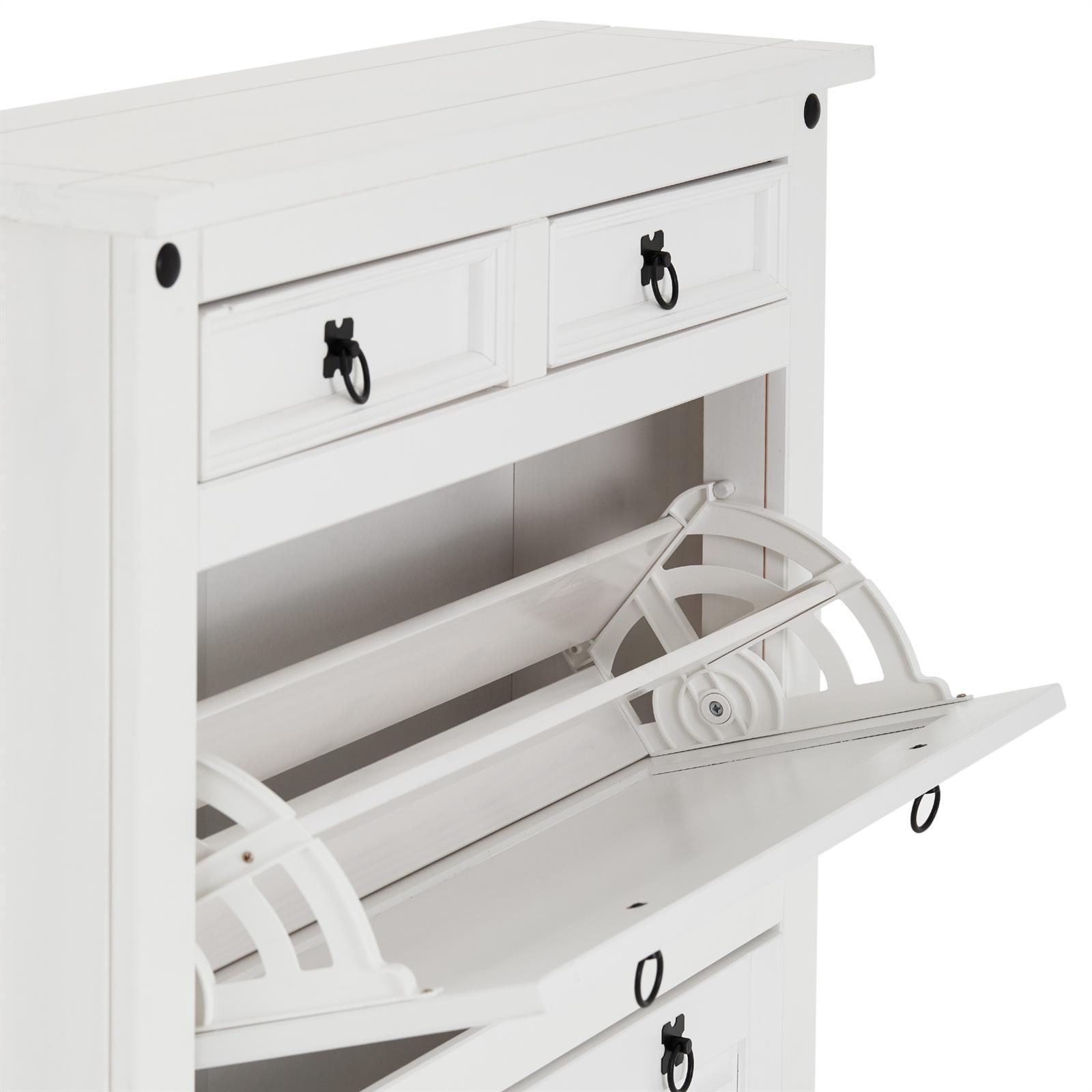 mexiko m bel schuhkipper schuh schrank kommode 2 klappe schublade kiefer massiv ebay. Black Bedroom Furniture Sets. Home Design Ideas