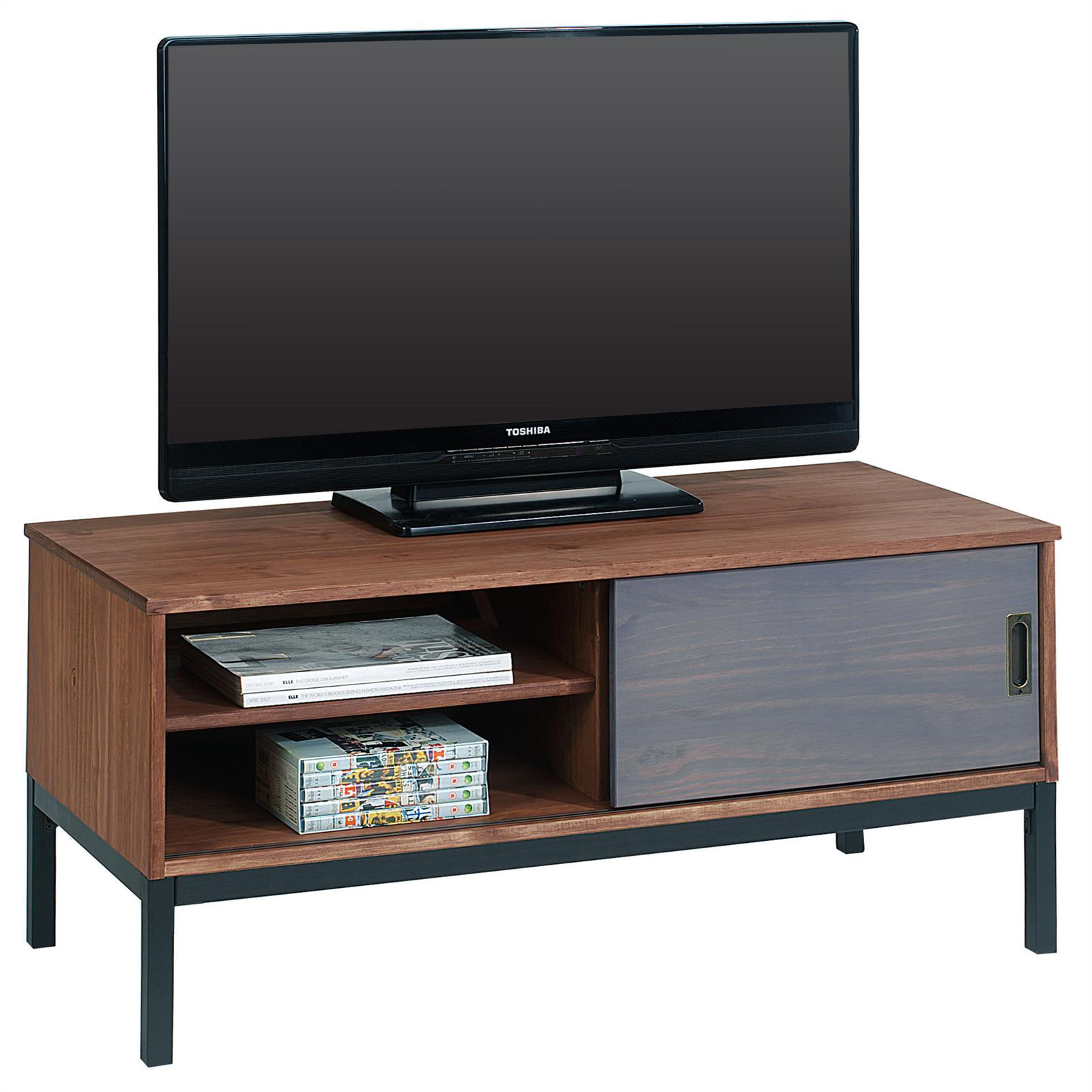 tv lowboard selma mit 1 schiebet r braun gebeizt mobilia24. Black Bedroom Furniture Sets. Home Design Ideas