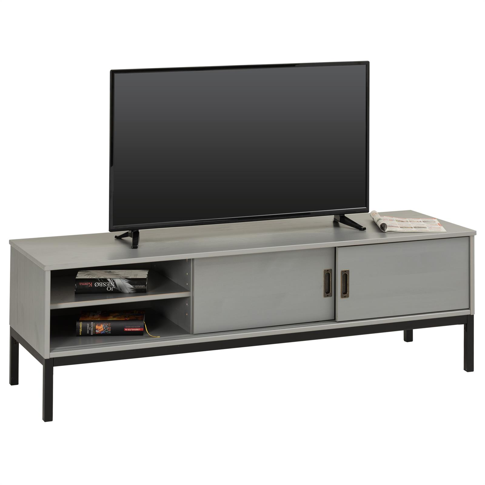 tv lowboard selma mit 2 schiebet ren grau mobilia24. Black Bedroom Furniture Sets. Home Design Ideas