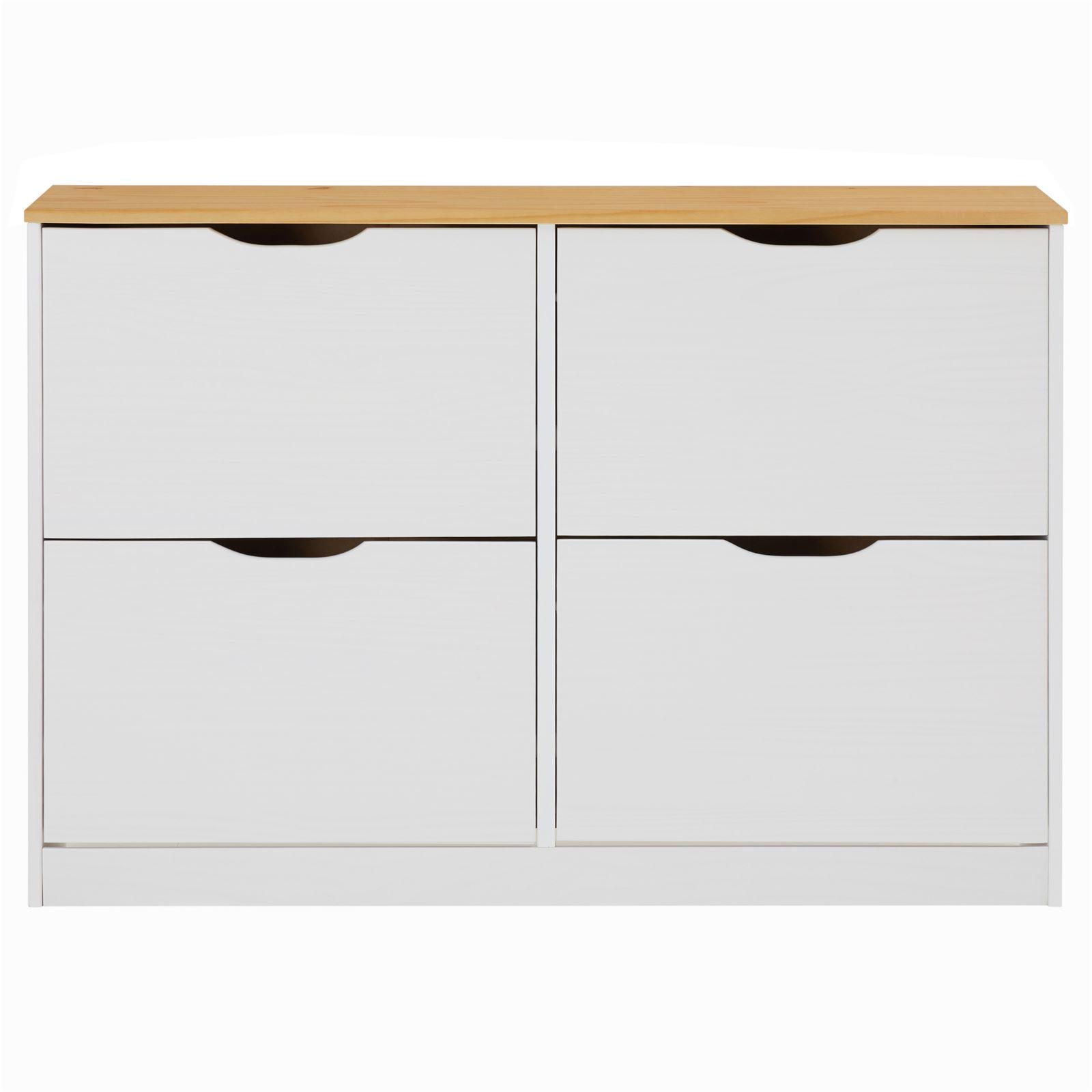 Wohnzimmer Sitzsack Chacos In Weiß Taupe: Schuhschrank BASIL In Taupe Mit 2x2 Kipper Weiß/braun