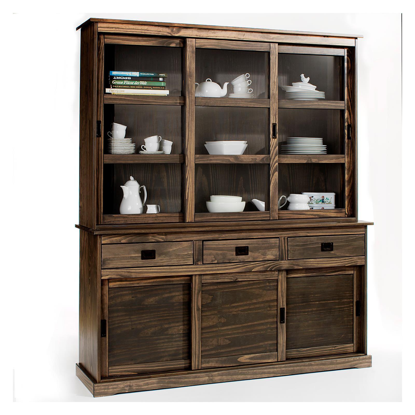 vitrine anrichte mit aufsatz savona grau mobilia24. Black Bedroom Furniture Sets. Home Design Ideas