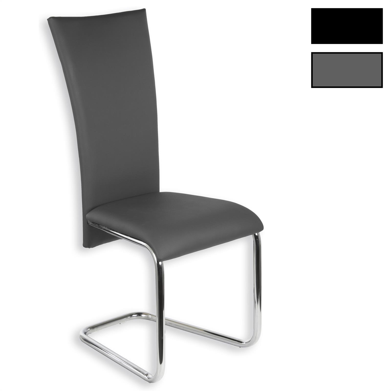 schwingstuhl esszimmerstuhl freischwinger 4er set lederimitat ebay. Black Bedroom Furniture Sets. Home Design Ideas