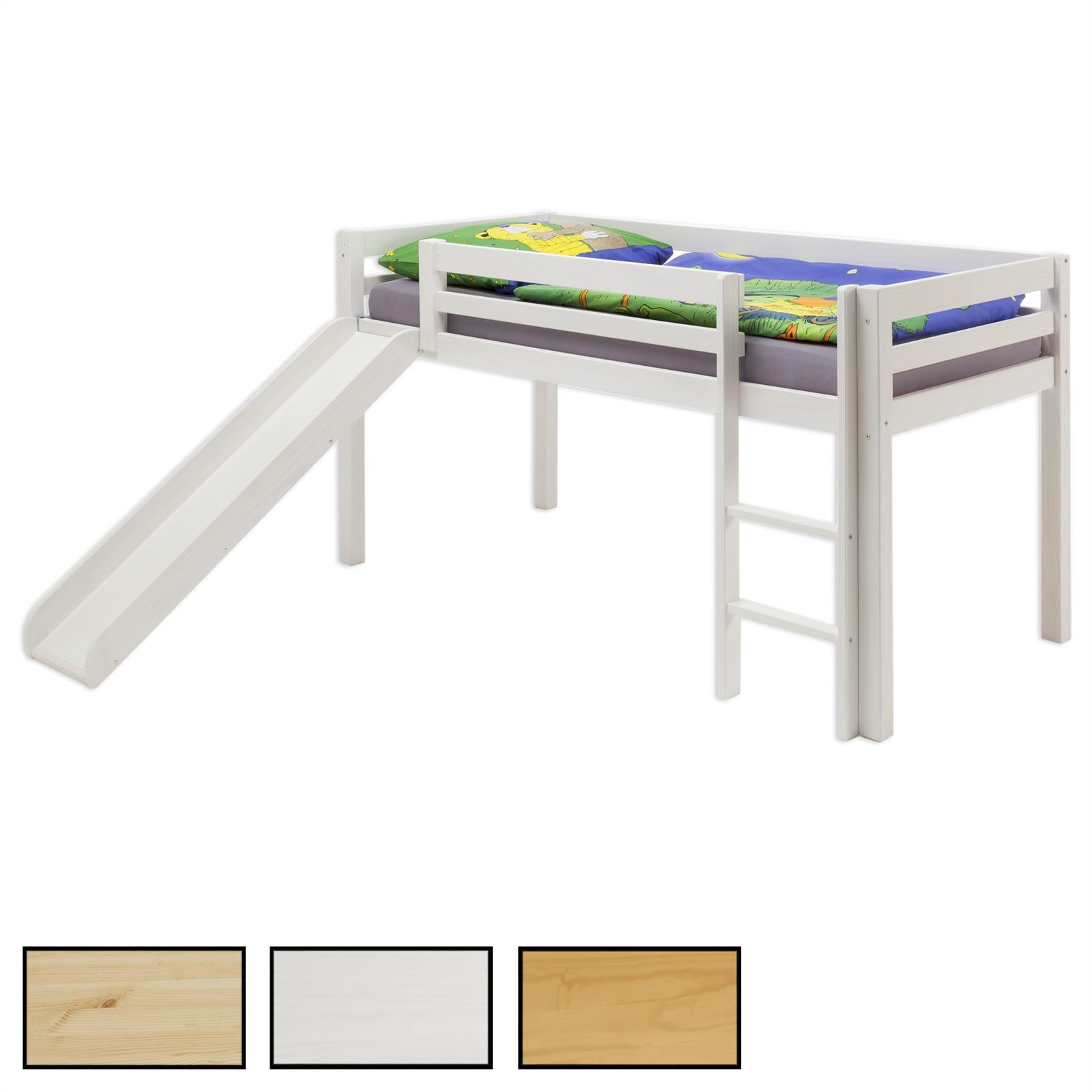 Hochbett mit Rutsche MAX in 3 Farben - mobilia24