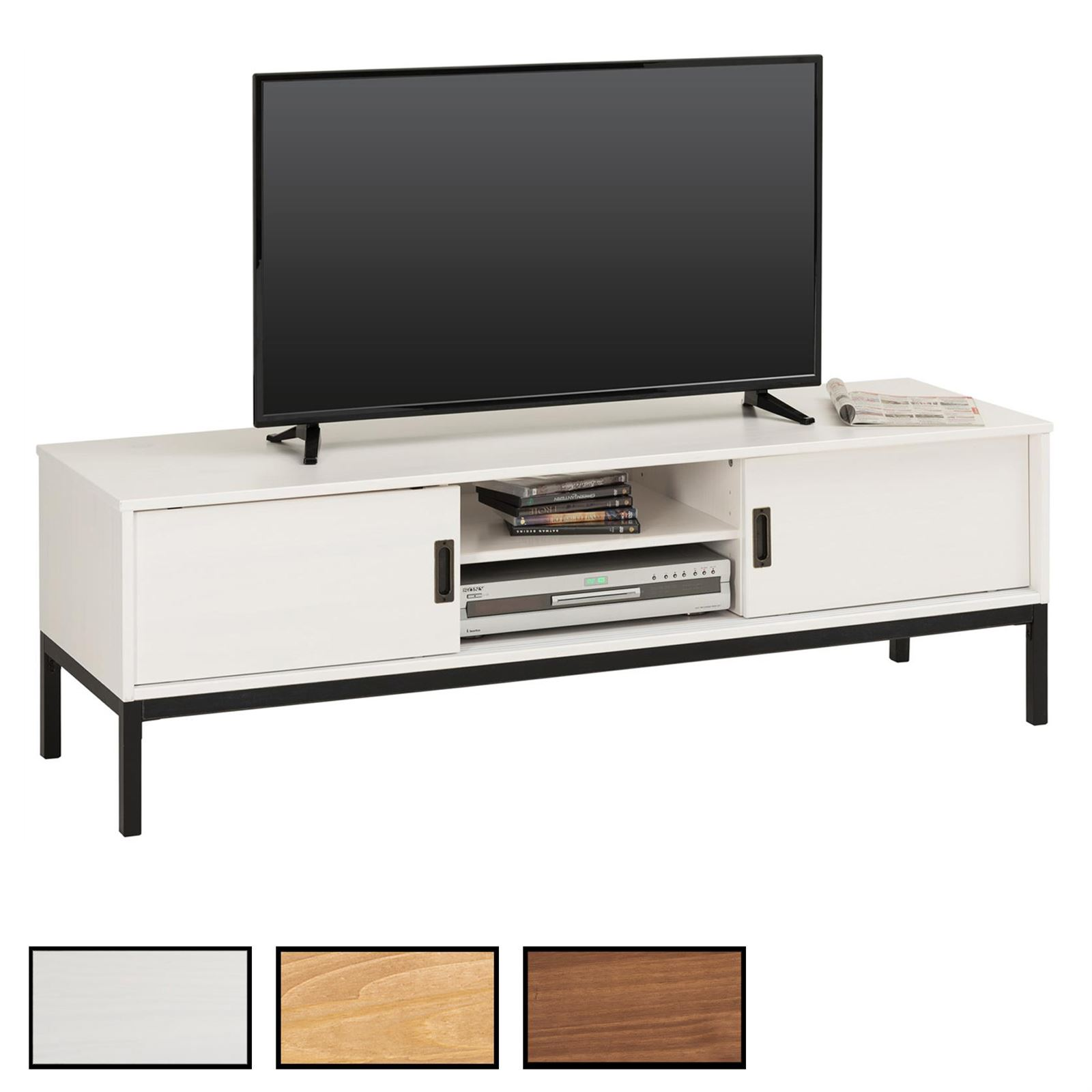 tv lowboard selma mit 2 schiebet ren mobilia24. Black Bedroom Furniture Sets. Home Design Ideas
