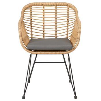Gartenstuhl PARAMO aus Polyrattan mit Sitzkissen im 2er Set
