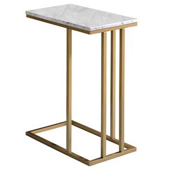 Beistelltisch CARLOTA rechteckig gold/Marmor weiß