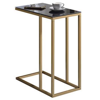 Beistelltisch BELGRAD mit Glasplatte in gold/schwarz
