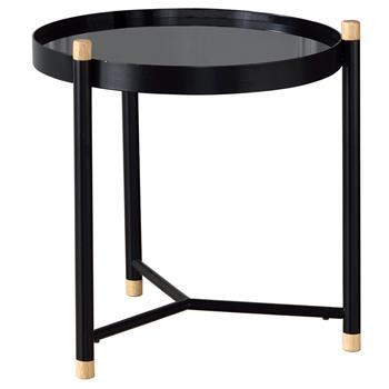 Beistelltisch ALICIA mit Glas, in schwarz
