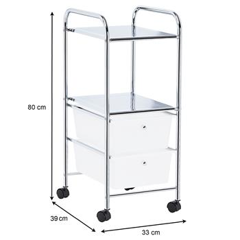 Rollcontainer GINA mit 2 Schubladen in weiß transparent