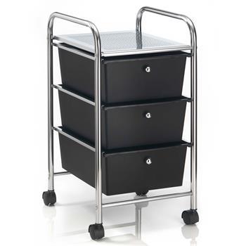 Rollcontainer GINA mit 3 Schubladen chrom/schwarz