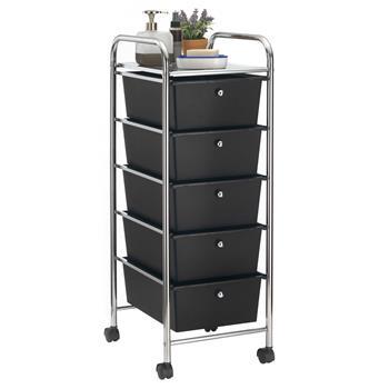 Rollcontainer GINA mit 5 Schubladen in chrom/schwarz