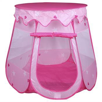 Spielzelt GIRLY in rosa mit Herzen & Sternen