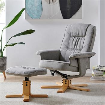 Relaxsessel mit Hocker CHARLY mit Stoffbezug in grau