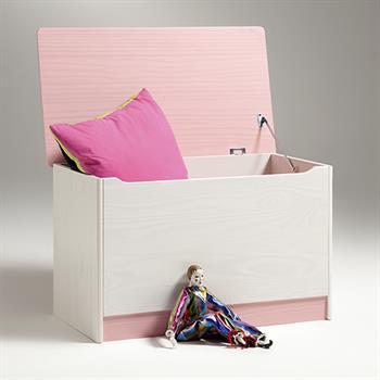 Spielzeugtruhe HANNAH in weiß/rosa