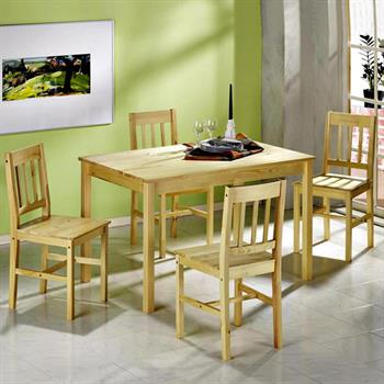 Essgruppe OSLO, Tisch mit 4 Stühlen, Kiefer