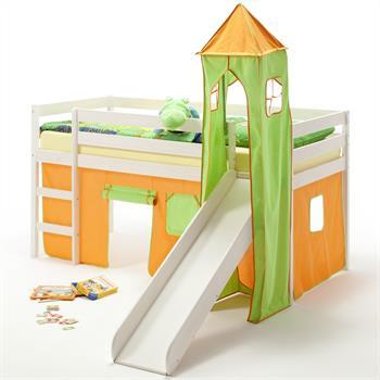 Rutschbett BENNY, Turm+Vorhang grün/orange