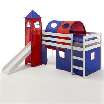 Spielbett BENNY blau/rot, weiß lackiert