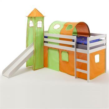 Spielbett BENNY orange/grün, weiß lackiert