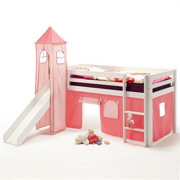 Rutschbett MAX mit Vorhang & Turm pink/rosa