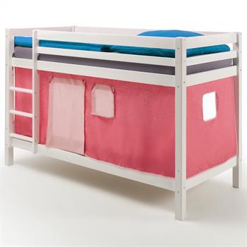 Etagenbett MAX in weiß mit Vorhang pink