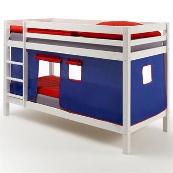 Etagenbett MAX in weiß mit Vorhang blau/rot