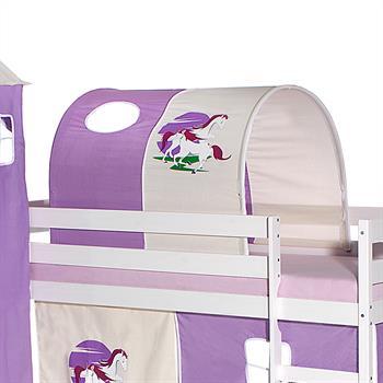 Tunnel EINHORN für Spielbett in lila/beige