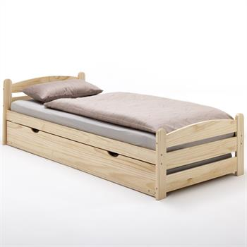 Bett GRETA 90 x 200 cm mit Auszugsbett natur lackiert
