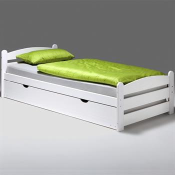 Bett GRETA 90 x 200 cm mit Auszugsbett weiß lackiert