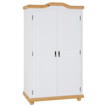 Garderobenschrank MÜNCHEN mit 2 Türen, Kiefer weiß/braun