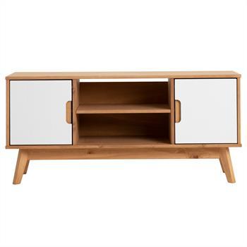 Lowboard TIVOLI 2 Türen skandinavisches Design, gebeizt/weiß