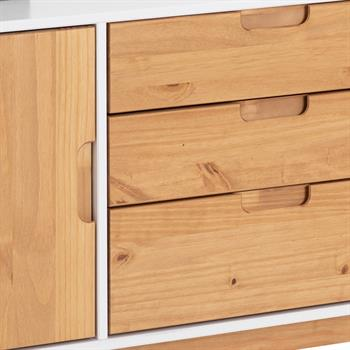 Anrichte TIVOLI 2 Türen 3 Schubladen skandinavisches Design, weiß/gebeizt