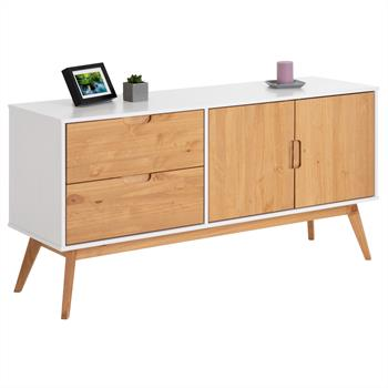 Anrichte TIVOLI 2 Türen 2 Schubladen skandinavisches Design, weiß/gebeizt